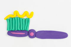 Plasticine toothbrush. Stock Image