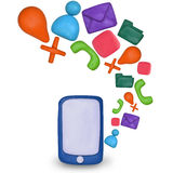 Plasticine Touchscreen smartphone with application icons. Plasticine Touchscreen smartphone with cloud of colorful application icons Royalty Free Stock Image
