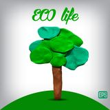 Plasticine tree on a background. Stock Images