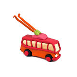 Plasticine trolleybus  on white background Royalty Free Stock Photo