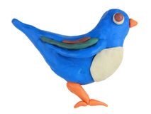 Plasticine twitter bird. On a white background Stock Photography