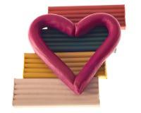Plasticine valentine on bricks Stock Photography