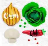 Plasticine vegetables onion Royalty Free Stock Images