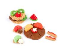 Plasticine waffle and fruits Royalty Free Stock Photo