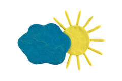 Plasticine weather forecast. Plasticine sun and cloud isolated on a white background Royalty Free Stock Photography