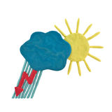 Plasticine weather forecast. Plasticine sun, cloud, rain and lightning isolated on a white background Royalty Free Stock Photos