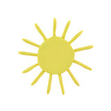 Plasticine weather forecast. Plasticine sun isolated on a white background Royalty Free Stock Photography
