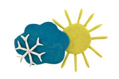 Plasticine weather forecast Stock Images