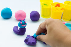 Plasticine on white background Stock Photo
