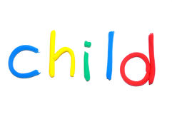 Plasticine word Child. By multicolor letters Royalty Free Stock Photos
