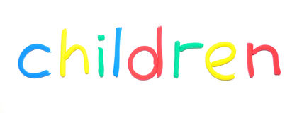 Plasticine word Children. By multicolor letters Stock Images