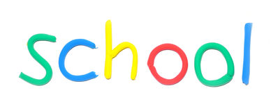 Plasticine word School. By multicolor letters Stock Photography