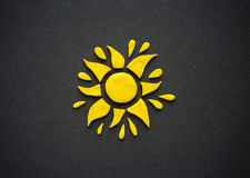 Plasticine yellow sun. Stock Photos