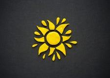 Plasticine yellow sun. Stock Photos
