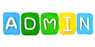 Plasticinealphabet-Formwort ADMIN Stockfotografie