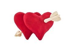 Plasticinehart door een pijl van Cupido wordt geslagen die Royalty-vrije Stock Foto