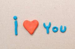 Plasticinehjärta och jag älskar dig arkivbilder