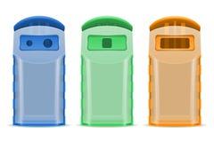Plastick dumpster afval die vectordieillustratie sorteren op witte achtergrond wordt geïsoleerd stock illustratie