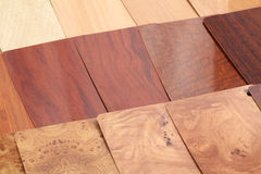 Plastics for the furnishing - wood. Color samples for the furnishing of plastics that mimic the different sorts of natural wood royalty free stock photos
