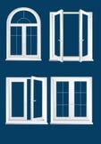 Plastics glasses windows. On the dark blue background royalty free illustration