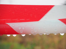 The plastics red and white color whit drop dew. Stock Images