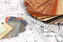 Plastics, ruler, architectural drawings Royalty Free Stock Image