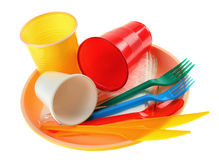 Plastiek dishware stock foto's
