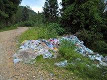 Plastik, Abfall und Abfall in ländlichem China stockbild