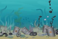 Plastik, Reifen und giftiger Fassverschmutzungsillustrationsabfall unter der Seevektorillustration Meer und Ozean lizenzfreie abbildung