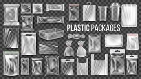 Plastik verpackt transparenten Verpackungs-Satz-Vektor Leerer Nahrungsmittel-Polyäthylen-Paket-Spott herauf Schablone Realistisch stock abbildung