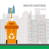 Plastikabfall, der flaches Konzept sortiert stock abbildung