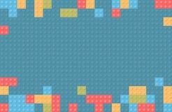 Plastikbaublockhintergrund Kinderspielzeug-Gebäude blo Stockbild