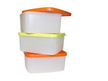 Plastikbehälter drei Stockfotografie