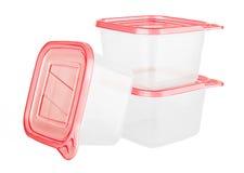 Plastikbehälter für Lebensmittel Stockfotos