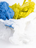 Plastikfördermaschinentaschen auf weißem Hintergrund Lizenzfreie Stockfotos