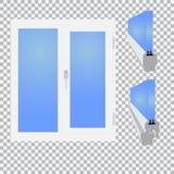 Plastikfenster, glasig-glänzendes Schnitt auf karierter Hintergrundillustration Lizenzfreies Stockfoto