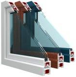 Plastikfenster mit Farblaminierung Lizenzfreie Stockfotos