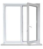 Plastikfenster mit geöffneter Tür Lizenzfreies Stockbild