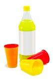Plastikflaschen und Plastikcup Lizenzfreie Stockfotos
