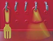 Plastikgabel und Messer stockfotos