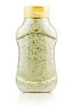 Plastikglas mit Majonäse Stockfotografie