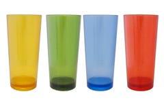 Plastikglas verschiedene Farbe Stockfoto