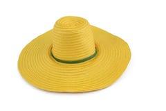 Plastikhut der gelben Webart auf dem weißen Hintergrund Lizenzfreie Stockfotos