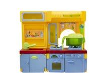 Plastikküchenspielzeug lokalisiert auf Weiß. Lizenzfreie Stockbilder