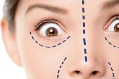 Plastikkirurgibegrepp - förskräckt kvinna för rolig framsida fotografering för bildbyråer
