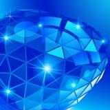 Plastikkorn vernarrt mit blauem geometrischem Gegenstand 3d lizenzfreie abbildung