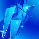 Plastikkorn vernarrt mit blauer geometrischer Schablone 3d stock abbildung
