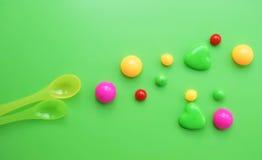 Plastikowa łyżka dla dziecka karmienia Zdjęcie Stock
