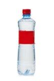 Plastikowa butelka z czerwoną etykietką Zdjęcia Stock