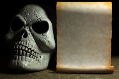Plastikowa czaszka i Stary papier dla teksta Obraz Royalty Free